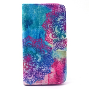 Wallet Leather Stand Cover for Galaxy S6 edge G925 - Henna Lotus