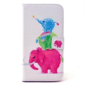 PU Leather Card Holder Case for Galaxy S6 edge G925 - Three Colorized Elephants
