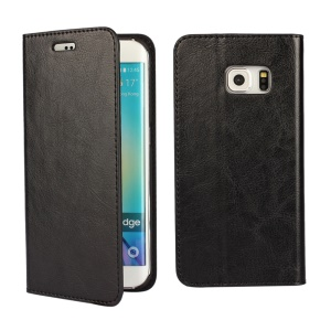 Genuine Split Leather Wallet Case for Samsung Galaxy S6 edge G925 - Black