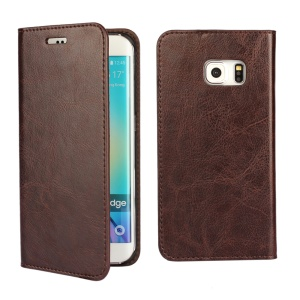 Crazy Horse Genuine Split Leather Case for Galaxy S6 edge G925 - Coffee