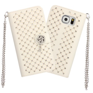Starry Sky Rhinestone Wallet Leather Case for Samsung Galaxy S6 Edge G925 - White