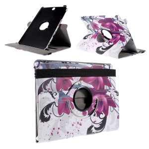 Rotating Stand Flip Leather Case for Samsung Galaxy Tab A 9.7 T550 T555 - Purple Flower
