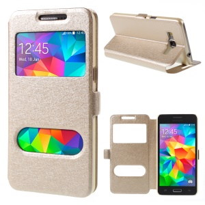 Leather Case for Samsung Galaxy Grand Prime SM-G530H Dual View Window - Champagne