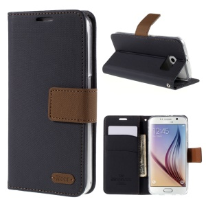 ROAR KOREA Twill Leather Wallet Case for Samsung Galaxy S6 G920 - Black