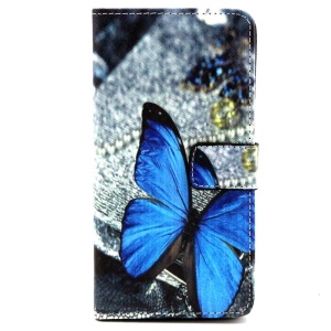 PU Wallet Leather Cover for Samsung Galaxy A3 SM-A300F - Vivid Blue Butterfly
