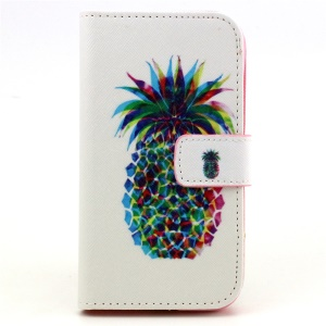 Patterned Flip Wallet Leather Case for Samsung Galaxy Core Prime G360 - Pineapple