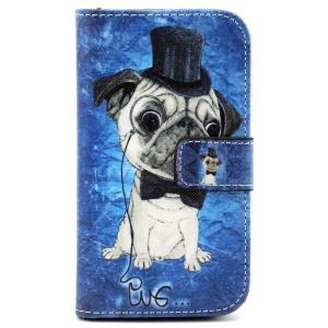 Patterned Flip Wallet Leather Case for Samsung Galaxy Core Prime G360 - Wearing Hat Pug