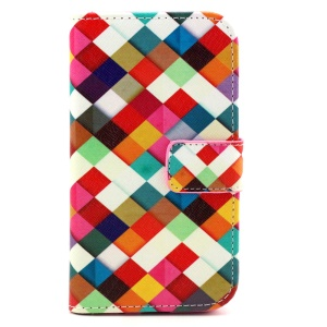 Patterned Flip Wallet Leather Cover for Samsung Galaxy Core Prime G360 - Colorful Grids