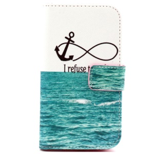 Patterned Flip Wallet Leather Shell for Samsung Galaxy Core Prime G360 - Sea Quote Anchor