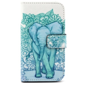 Patterned Wallet PU Leather Cover for Samsung Galaxy Core Prime G360 - Elephant
