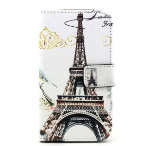 Patterned Wallet PU Leather Shell for Samsung Galaxy Core Prime G360 - Eiffel Tower