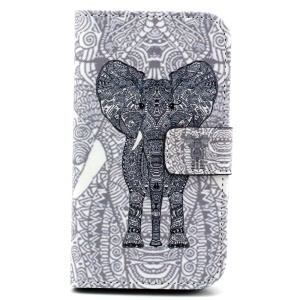 Patterned Wallet Leatherette Case for Samsung Galaxy Core Prime G360 - Tribal Elephant