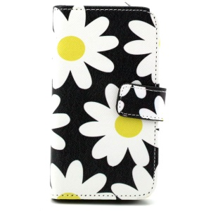 Patterned Wallet Leatherette Cover for Samsung Galaxy Core Prime G360 - Daisy Flower