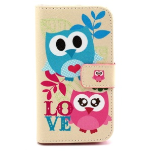 Patterned Wallet Leatherette Shell for Samsung Galaxy Core Prime G360 - Love Owls