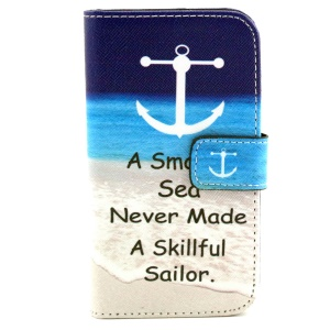 Patterned Magnetic Wallet Leather Case for Samsung Galaxy Core Prime G360 - Anchor and Quote