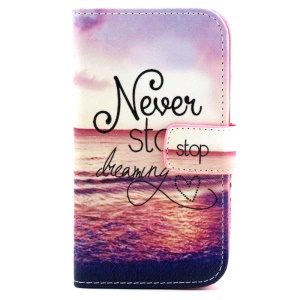 Patterned Magnetic Wallet Leather Cover for Samsung Galaxy Core Prime G360 - Never Stop Dreaming