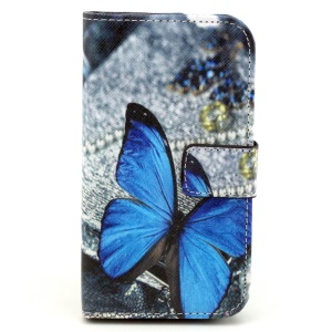 Patterned Magnetic Wallet Leather Shell for Samsung Galaxy Core Prime G360 - Blue Butterfly