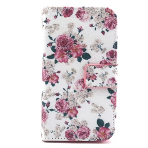 Patterned Wallet Leather Phone Case for Samsung Galaxy Core Prime G360 - Elegant Flower