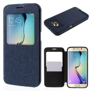 MERCURY Goospery WOW Leather Cover for Samsung Galaxy S6 Edge G925 with View Window - Blue
