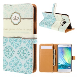 Patterned Flip Wallet Leather Cover for Samsung Galaxy A3 SM-A300F - Damask and Crown