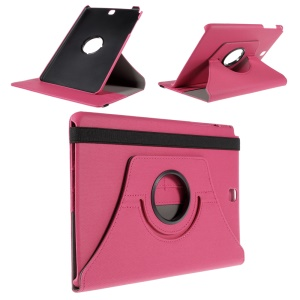 Cloth Grain Leather Rotary Stand Cover for Samsung Galaxy Tab A 9.7 T550 T555 - Rose