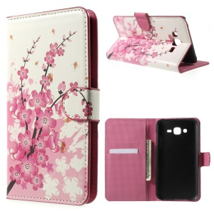 Pink Plum Blossom Card Holder Leatherette Cover for Samsung Galaxy J7 SM-J700F