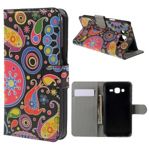 Paisley Flowers Leather Wallet Case for Samsung Galaxy J5 SM-J500F