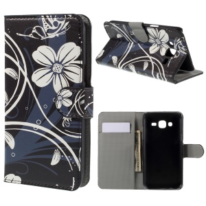 White Flowers Leather Wallet Cover for Samsung Galaxy J5 SM-J500F
