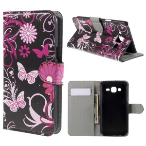 Butterfly Flowers Wallet Leather Stand Cover for Samsung Galaxy J5 SM-J500F