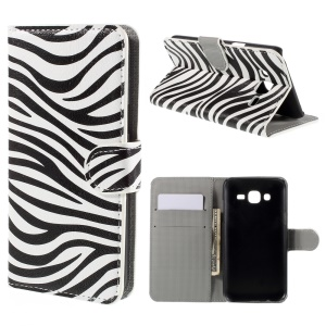 Zebra Stripes Wallet Leather Stand Case for Samsung Galaxy J5 SM-J500F