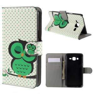 Sleeping Owl on the Branch PU Leather Stand Case for Samsung Galaxy J5 SM-J500F