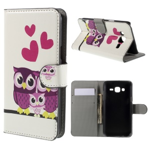 Three Owls and Hearts PU Leather Stand Cover for Samsung Galaxy J5 SM-J500F