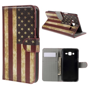 Vintage American Flag Leather Stand Cover for Samsung Galaxy J5 SM-J500F with Card Slots