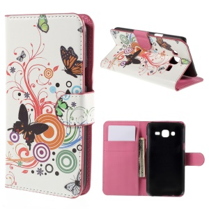 Butterfly Circles Leather Wallet Case Cover for Samsung Galaxy J5 SM-J500F