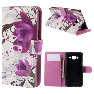 Elegant Lotus Leather Wallet Cover Case for Samsung Galaxy J5 SM-J500F