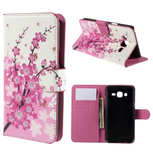 Plum Blossom Leather Wallet Cover for Samsung Galaxy J5 SM-J500F