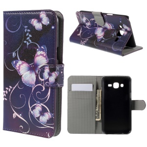 Purple Butterfly PU Leather Wallet Case for Samsung Galaxy J5 SM-J500F