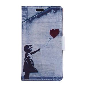 Wallet Leather Case for Samsung Galaxy J1 / J1 4G with Stand - Girl and the Flying Balloon