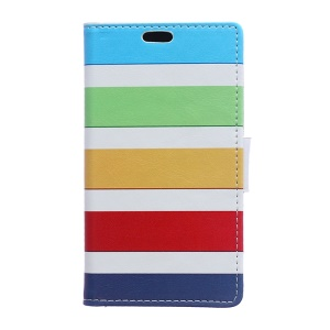 Wallet Leather Cover for Samsung Galaxy J1 / J1 4G with Stand - Rainbow Stripes