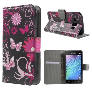 Butterfly Flowers Wallet Leather Stand Case for Samsung Galaxy J1 / J1 4G