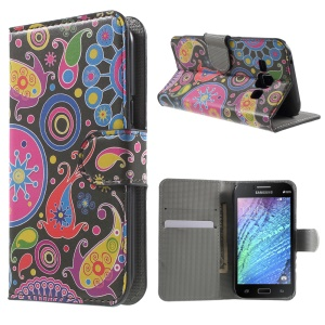 Paisley Flowers Magnetic Leather Stand Cover for Samsung Galaxy J1 / J1 4G