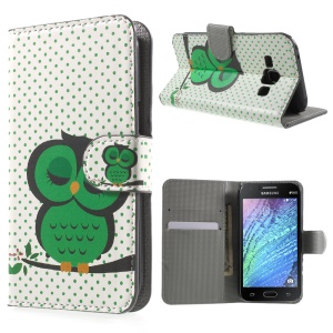 Sleeping Owl on the Branch Leather Wallet Cover Case for Samsung Galaxy J1 / J1 4G