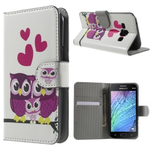 Three Owls and Hearts Leather Card Holder Case for Samsung Galaxy J1 / J1 4G