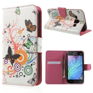 Butterfly Circles Stand Leather Magnetic Cover for Samsung Galaxy J1 / J1 4G