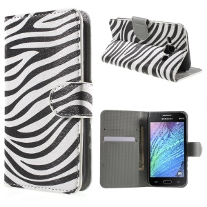 Zebra Stripes PU Leather Wallet Cover for Samsung Galaxy J1 / J1 4G