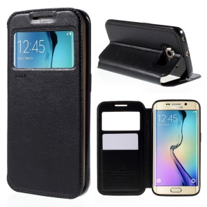 ROAR KOREA Noble View Window Leather Case for Samsung Galaxy S6 edge G925 - Black