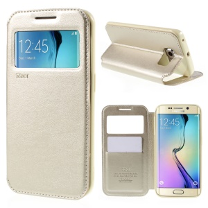 ROAR CORÉIA Noble View Window Leather Cover para Samsung Galaxy S6 edge G925 - champanhe