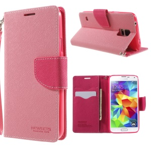 NEWSETS MERCURY Leather Phone Cover for Samsung Galaxy S5 G900 / S5 Neo Cross Pattern - Pink