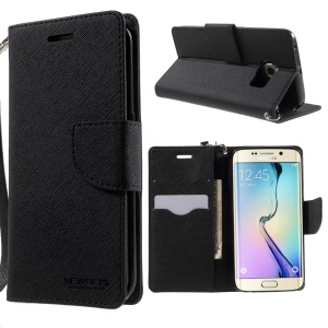 NEWSETS MERCURY Leather Case for Samsung Galaxy S6 edge G925 Cross Pattern - Black