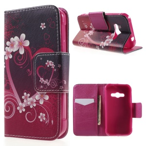 Leather Magnetic Case with Card Slots for Samsung Galaxy Xcover 3 SM-G388F - Heart Flowers